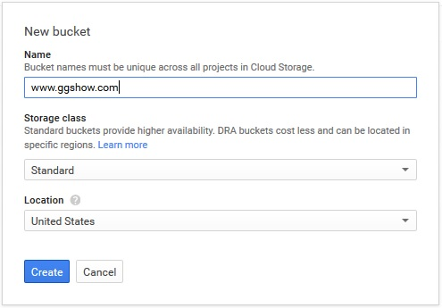 Creating new Google Cloud Storage bucket